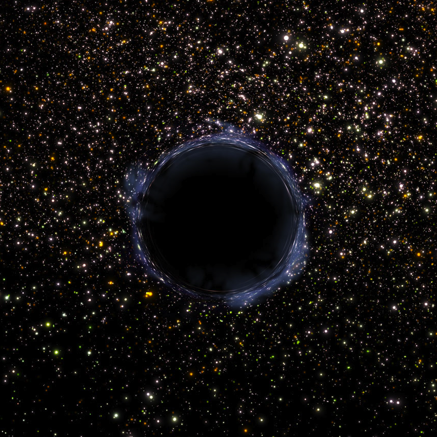 Artist's rendering of a black hole. Click to listen. [Credit: NASA/ESA and G. Bacon (STScI)]