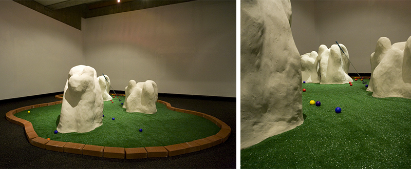 Chemical Play. 2010, 8'x16'. insulation board, concrete, astroturf, golf balls, bricks, putter.