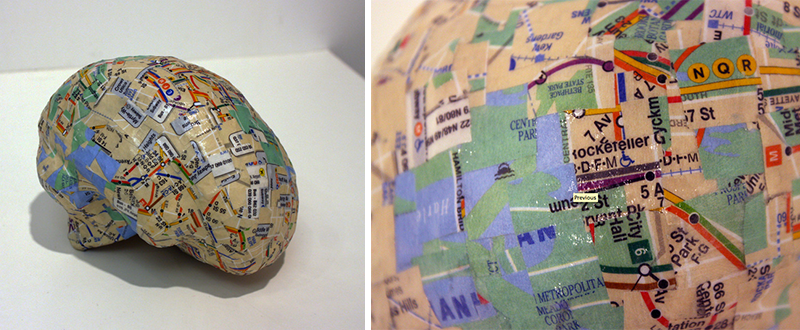 "Brodmann's Subways. 2013, 5""x5""x5"". papier mache, complete NYC subway map"